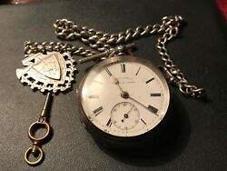 Vintage Solid Silver Pocket Watch And Chain And Fob