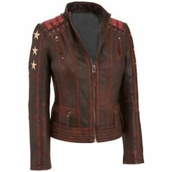 Cafe Racer Women Ox Blood Red Waxed Vintage Style Leather Jacket