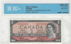 1954boc 2 Note Bc-38aa Serab 0031060 Bea/coy Cccs Ms-60 Replacement