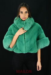 Green Mink Jacket With Pelts Across And Fox Collar - Size Medium/large