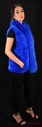 Dyed Blue Mink Vest With Fox Collar And Tuxedo - Size Large
