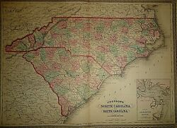 Vintage 1878 North And South Carolina Map Old Antique Authentic Original Atlas Map