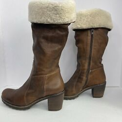 MANAS DESIGN BOOTS WITH SHEARLING ROLL TOP SZ 38 BROWN MADE IN ITALY