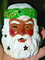 BLACK SANTA CLAUS HEAD Candle Holder Father Christmas African American Tea Lite