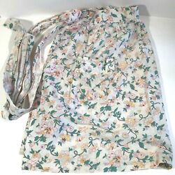Vintage Fabric Hostess Apron Full Body Halter Neck Hand Made Soft Cotton Floral