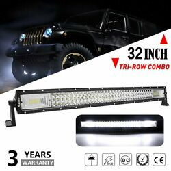 32'' Tri-row Led Work Light Bar Spot Flood Combo Offroad Driving For Jeep Truck