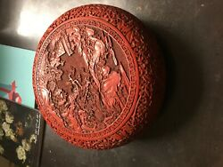 Chinese Carved Red Lacquered Circular Box