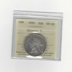 1892 Obv.3iccs Graded Canadian Silver 50 Cent Vf-20