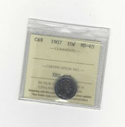 1907 Iccs Graded Canadian 10 Cent Ms-65