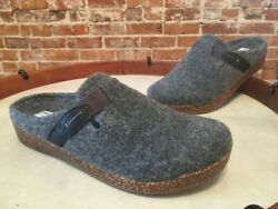 Earth Grey Felt Jenna Strap Detail Slip-on Mule Clogs Shoe New