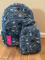 Vera Bradley Iconic Campus Tech Backpack Cat's Meow Cat Lunch Bunch Bag NWT Set