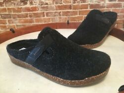Earth Black Felt Jenna Strap Detail Slip-on Mule Clogs Shoe 9.5 Sale #2