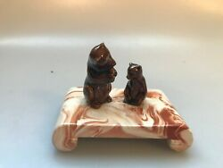 Antique Alaskan Clay Small Mother Bear And Cub Figurine Signed