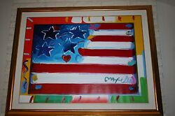 PETER MAX 2005 original acrylic on canvas flag with heart 26