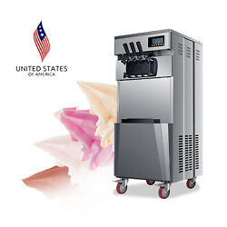 Great 20l/h Stand Commercial 3 Flavors Ice Cream Tool Stainless Steel Automatic