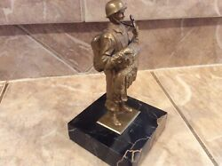 1940s Old Wwii Airborne Paratrooper Soldier Solid Bronzed Marble Base