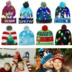 Christmas LED Light Hat Beanie Knitted Cap Winter Warm Xmas Adults Kids Gift