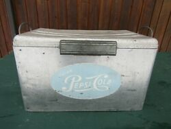 Vintage Aluminum Pepsi Cola Cooler Chest With Lid Drink Soda Picnic Ice Chest