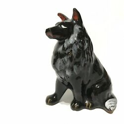 Vintage Hand Painted Japan Redware Black Collie Dog Figurine 3quot;