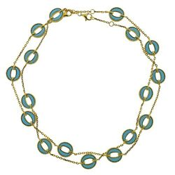 1970s Turquoise Gold Link Necklace Suite