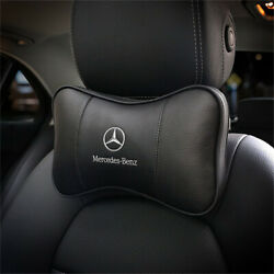 For Mercedes-benz Genuine Leather Neck Pillow Breathable Seat Headrest Black 2x