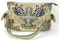 Cowgirl Trendy Concealed Carry Handbag Western Purse Conceal Cross Design $26.99