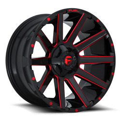 4 24x12 Fuel Gloss Black And Red Contra Wheel 6x135 6x139.7 For Ford Toyota Jeep
