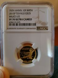 2015 1/4 Oz Gold Bruce Lee 75th Anniversary Ngc Pf70 Uc 25 Coin Pop 16 Only