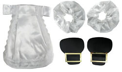 Colonial Lace White Jabbot Cuff Shoe Buckle Black Gold Costume Accessory Set