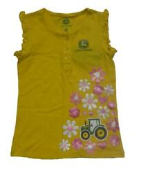 Girls John Deere Tractors And Flowers Yellow Flutter Tank Top Size 5 6 Nwt Daisy