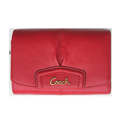 New Authentic Coach Ashley Leather Compact Clutch Wallet Purse Cherry Red F48068 $59.00