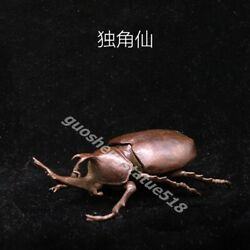 China Red Copper Lifelike Animal Insect Dung Unicorn Beetle Beatles Small Box