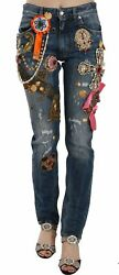 Dolce And Gabbana Jeans Crystal Embellished Cross Skinny Denim It38/us4/xs 8300