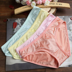 Soft Women Girls Silky Comfort Ice Silk Without trace Underwear Panties Lace New C $2.56
