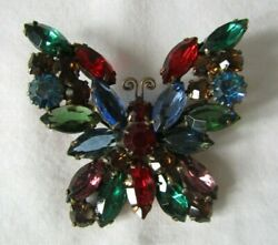 Vintage Weiss Signed Multi-colored Rhinestone Butterfly Brooch Pin