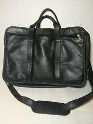 Heritage Soft Briefcase Genuine Leather Ez Scan Airport Expandable Work Bag