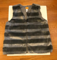 Womens Size L Ruby Road Shimmer And Shine Faux Fur Vest Gray Silver Striped Boho