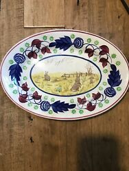 Lg 14 1/2 Platter C 1900 Stick Spatter Rabbitware Rabbit Plate With Frogs