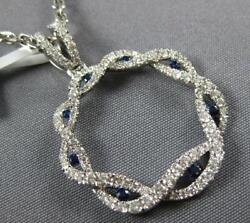 .92ct Diamond And Aaa Sapphire 18kt White Gold 3d Infinity Circle Of Life Pendant