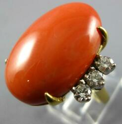 Extra Large .55ct Diamond And Aaa Coral 18kt 2 Tone Gold Classic Oval And Round Ring