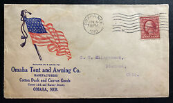 1919 Omaha Nb Usa Advertising Cover To Diamond Oh Tent And Awing Co