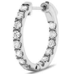 Estate 1.0ct Diamond 14kt White Gold 3d Classic Inside Out Hoop Hanging Earrings