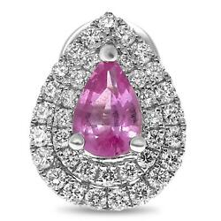 1.36ct Diamond And Aaa Pink Sapphire 18kt White Gold Pear Shape Halo Stud Earrings