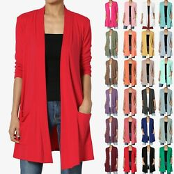 Themogan S3x Casual 3/4 Sleeve Slouchy Pocket Jersey Knit Open Front Cardigan