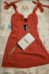 New Forever 21 S Woven Cayenne fit and flare cute dress bow tie with stretch