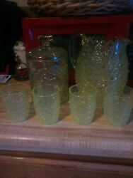Vintage Yellow Crystal Pitcher, Ice Bucket, With Glasses Set