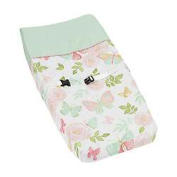 Sweet Jojo Watercolor Rose Blush Pink Mint Butterfly Floral Changing Pad Cover