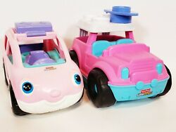 Fisher Price Little People Pink Talking Minivan And Suv Jeep Surfboard Lot Of 2