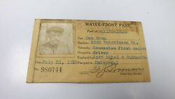 Antique Water Front Pass Id Philadelphia Pa 1918 Romanian Apex Metal And Rubber Co