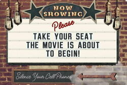 Funny Tin Sign Now Showing Movie Theater Garage Kitchen Decor Bathroom
